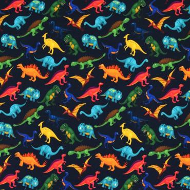 NEU French Terry  50 x 150 cm Dinos auf hellblau