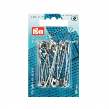 Prym 38 mm Safety Pins Curved with Coil Brass Silver