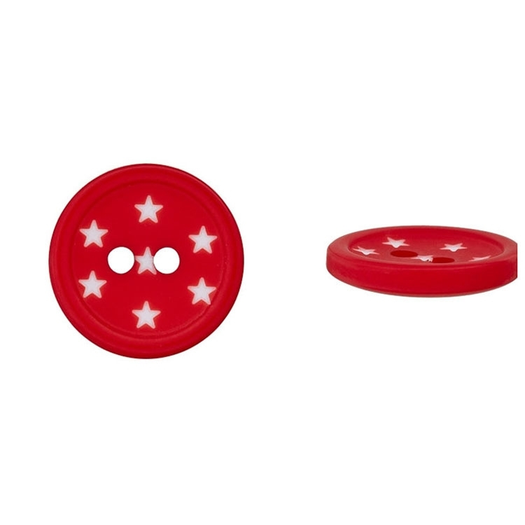 2-hole button star effect, rood 15 mm