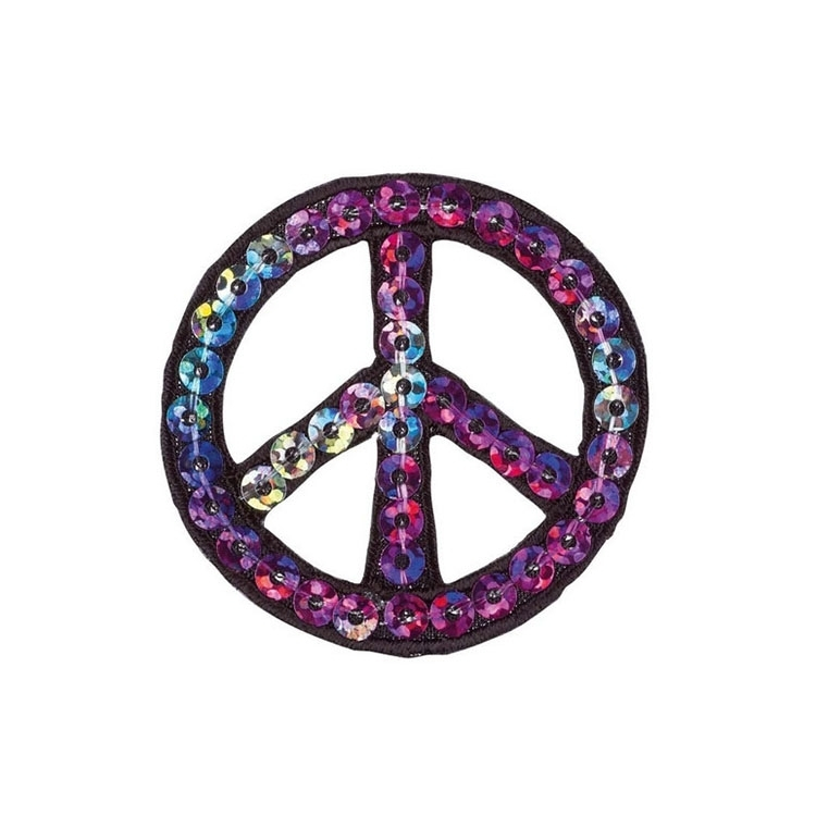 Applicatie Pailletten Peace | 4-8396 | multicolor