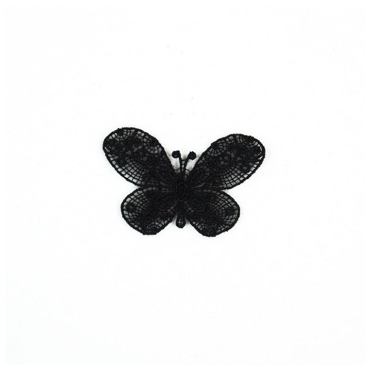 Appliques Butterfly, lace, black