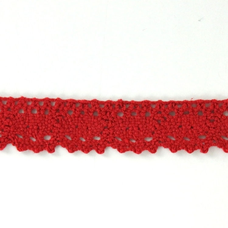 Cotton bobbin lace, red 25 mm
