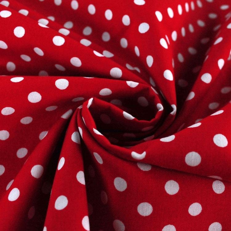 Rote Baumwoll-Popeline mit weißen Punkten