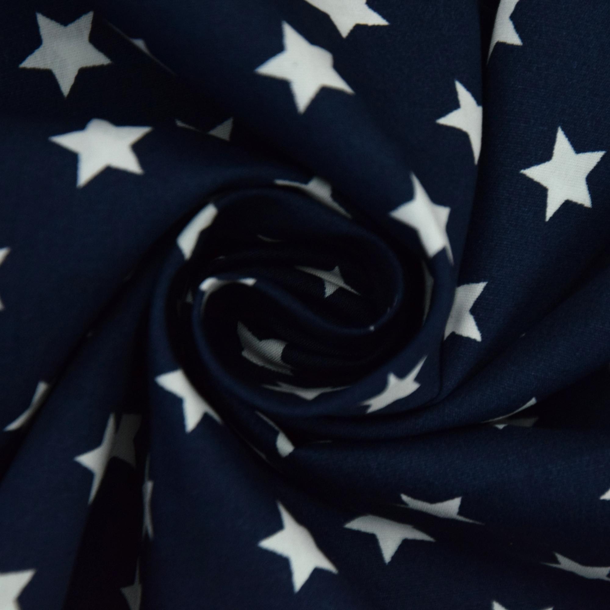Marineblaue Baumwoll-Popeline mit weißen Sternen