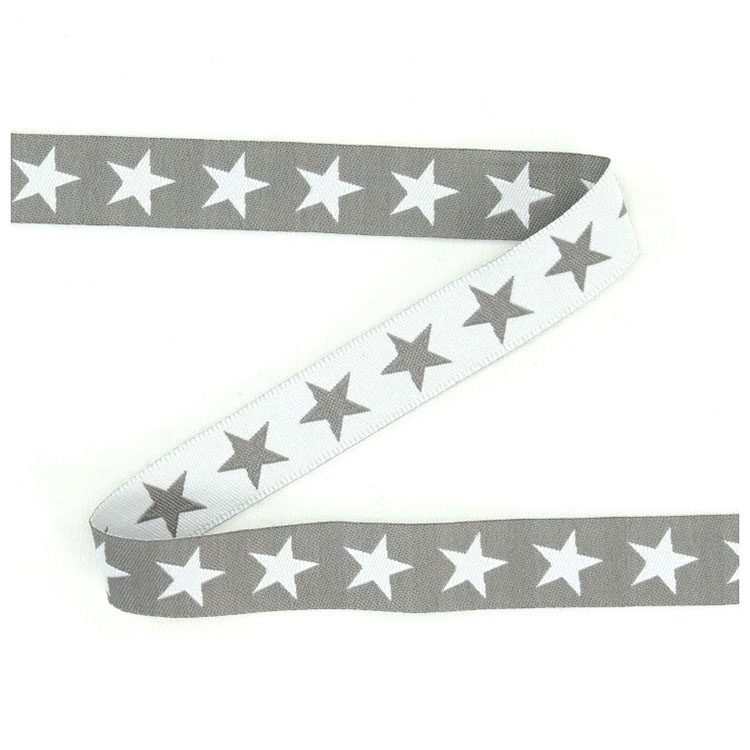 Cotton ribbon stars light grey