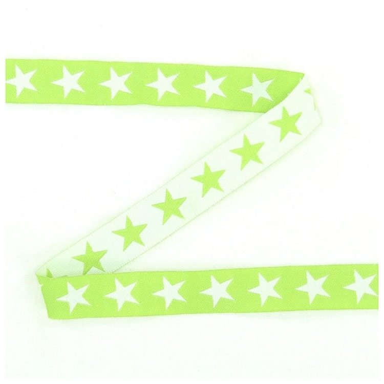 Cotton ribbon sterren lime