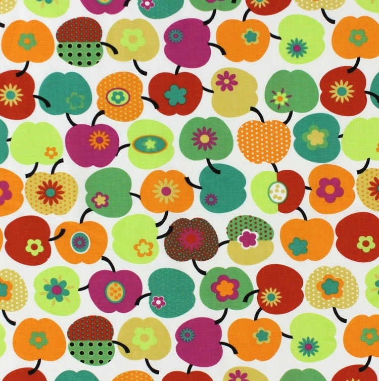 Cotton print,  Colourful apples 3
