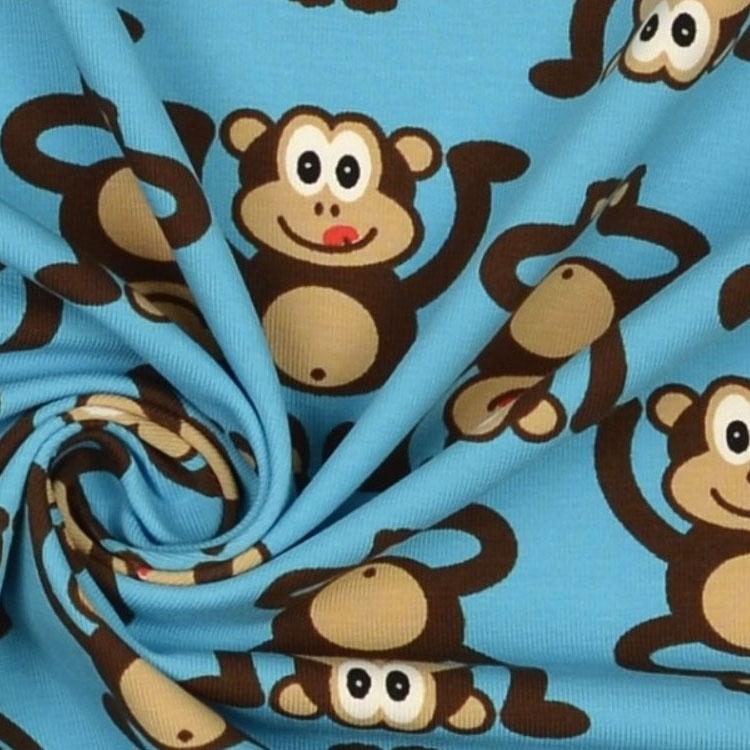 Blauer Baumwolljersey mit Affenmuster