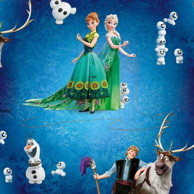 Blauer Baumwolljersey mit Elsa und Anna von 'Die Eiskönigin'