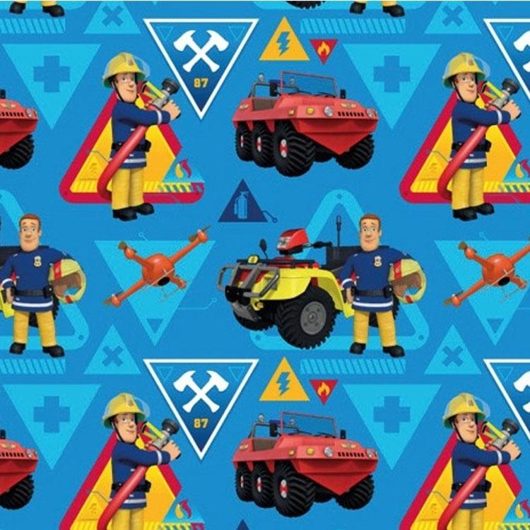 Blauer Baumwolljersey 'Feuerwehrmann Sam'
