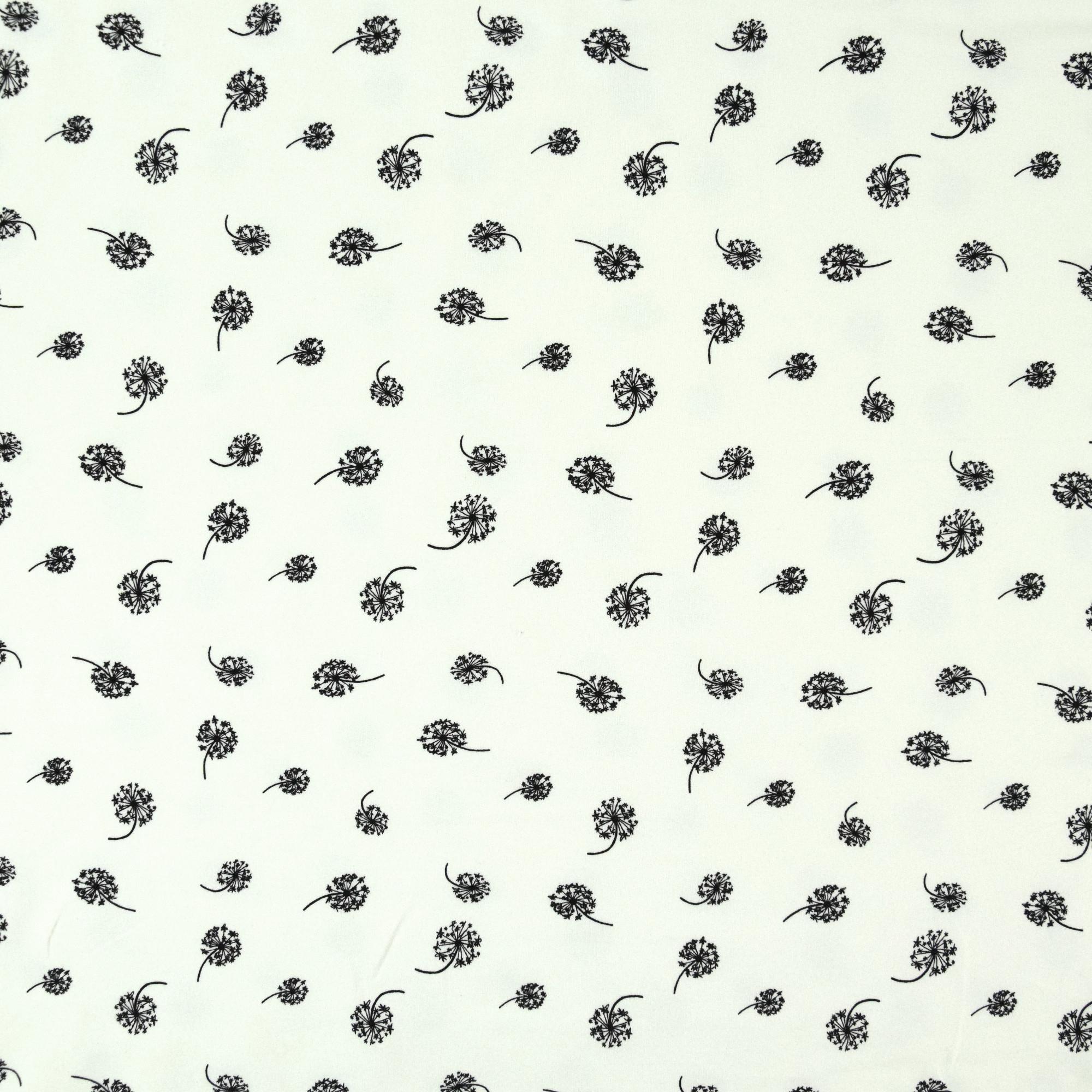 Wollweißer Baumwolljersey French Terry mit kleinen Pusteblumen