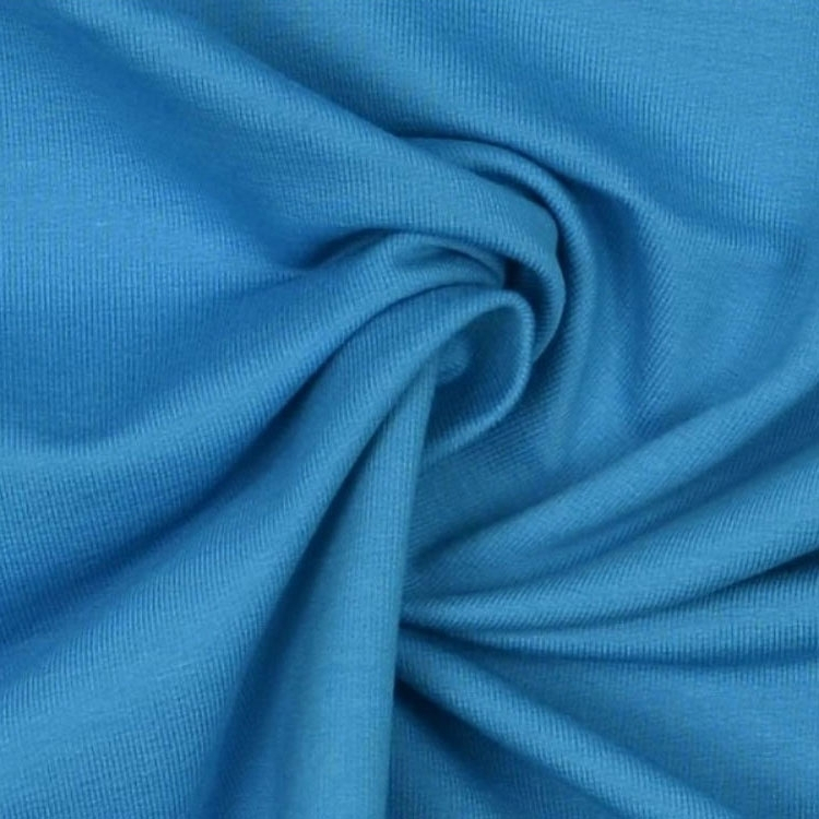 Stretch katoen French Terry uni, aqua blauw
