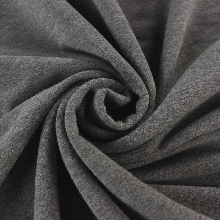 Cotton Jersey French Terry uni, dark grey-melange
