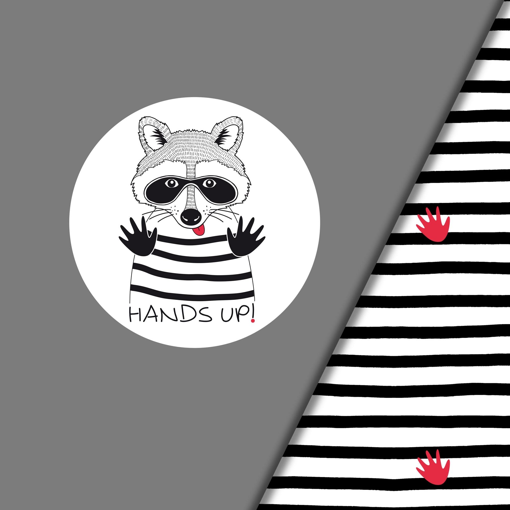 Hellgrauer Baumwolljersey Panel 'Waschbär Hands Up'