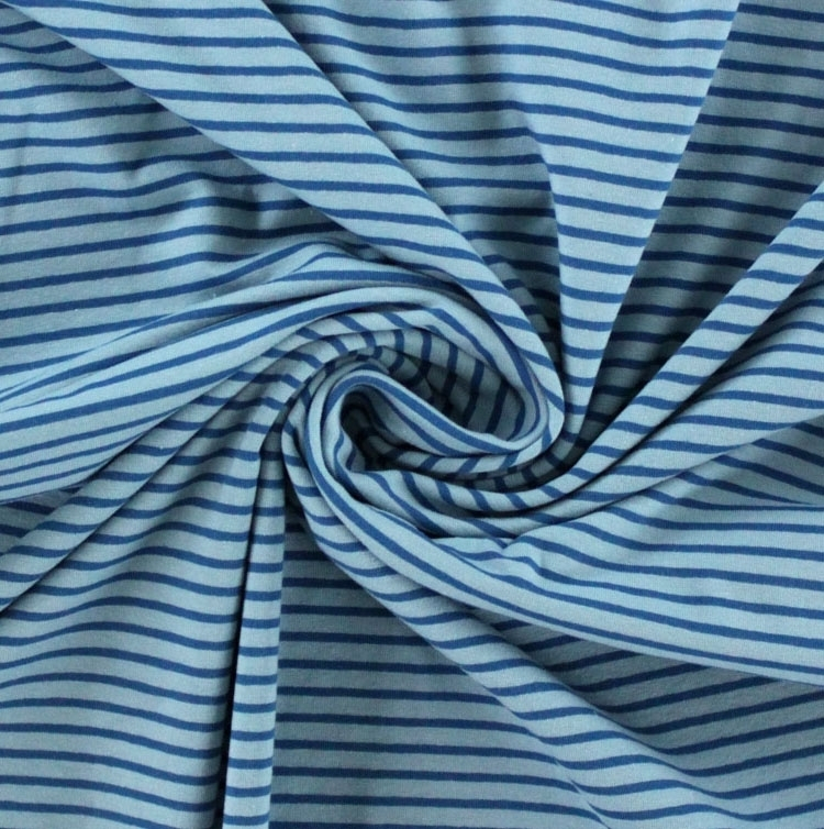 Cotton jersey stripes, light blue / blue