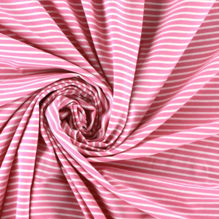 Cotton jersey stripes, pink / white