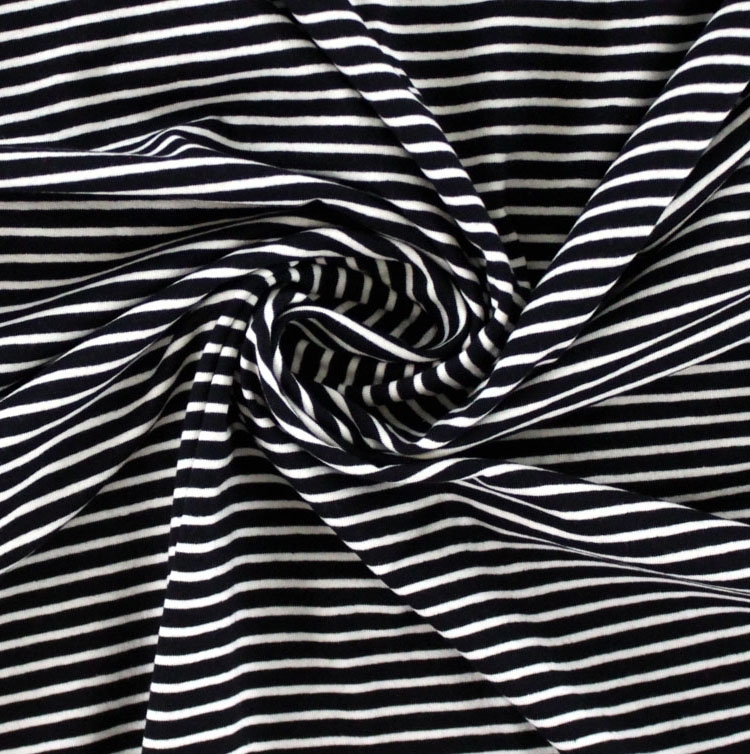 Cotton jersey stripes, black / cream