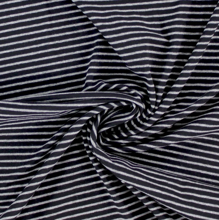 Cotton jersey stripes black / grey