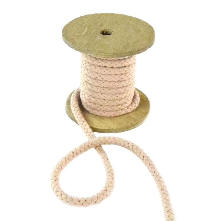 Cotton drawstring 8 mm, beige