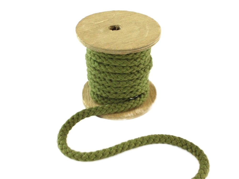 Cotton drawstring 8 mm, olive