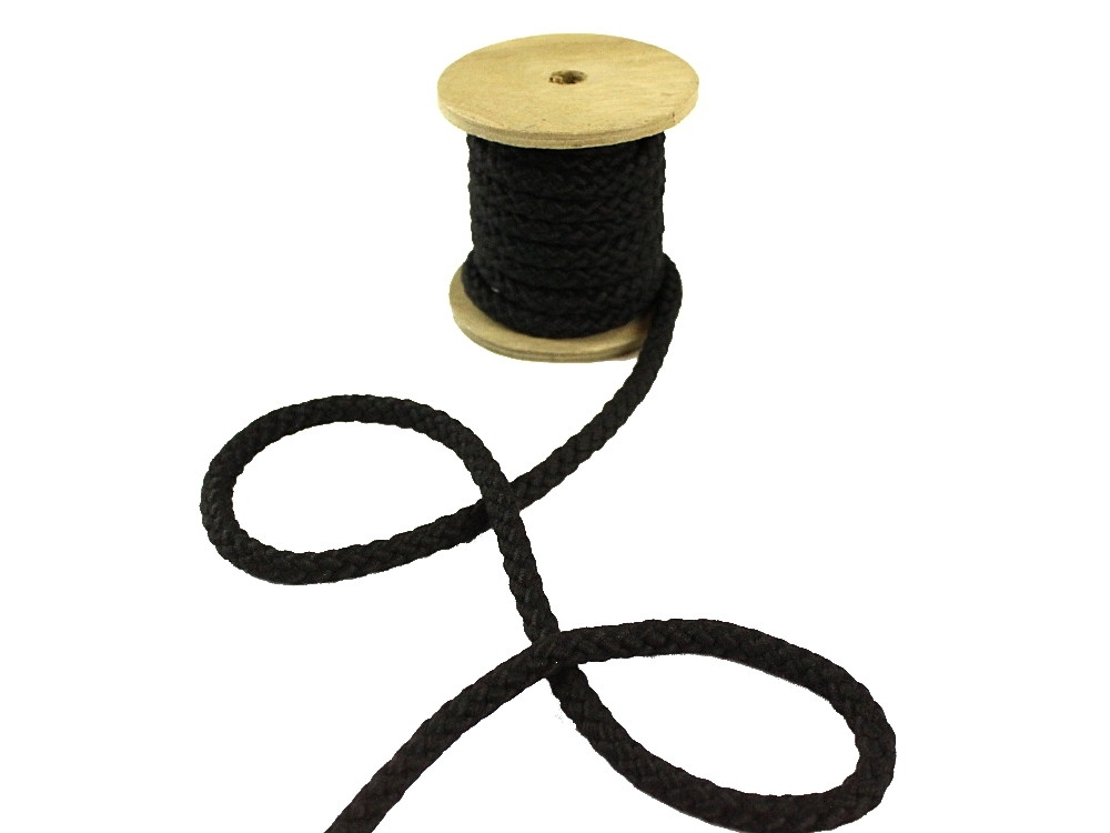 Cotton drawstring 8 mm, black