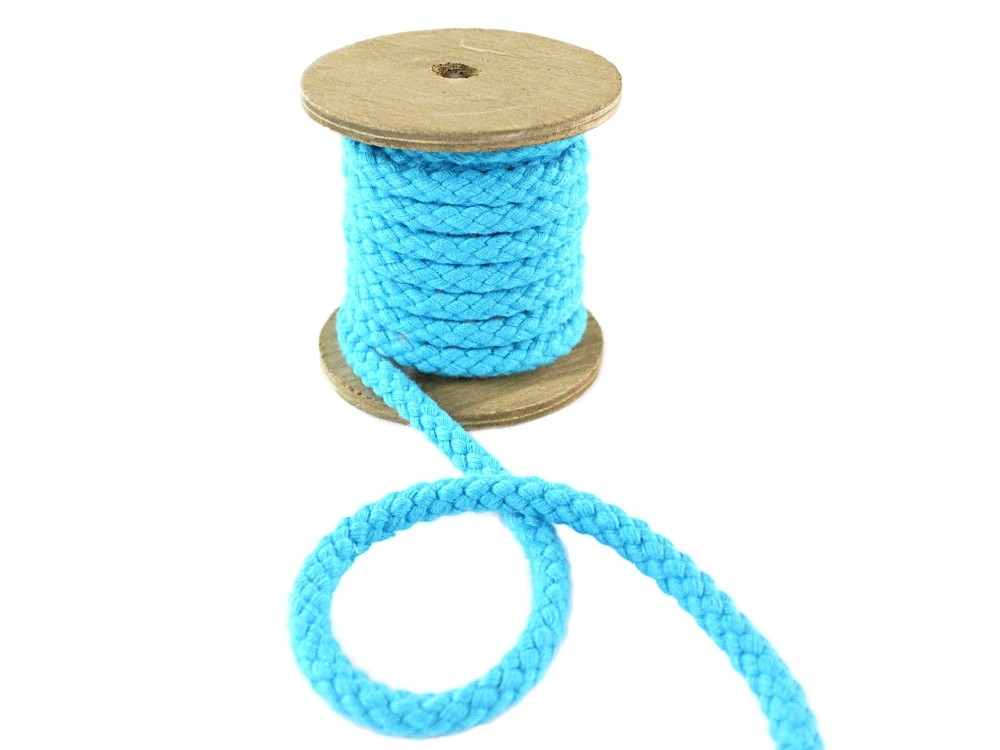 Cotton drawstring 8 mm, turquoise