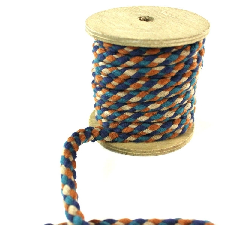 Cotton drawstring braided 8 mm, brown multicolor