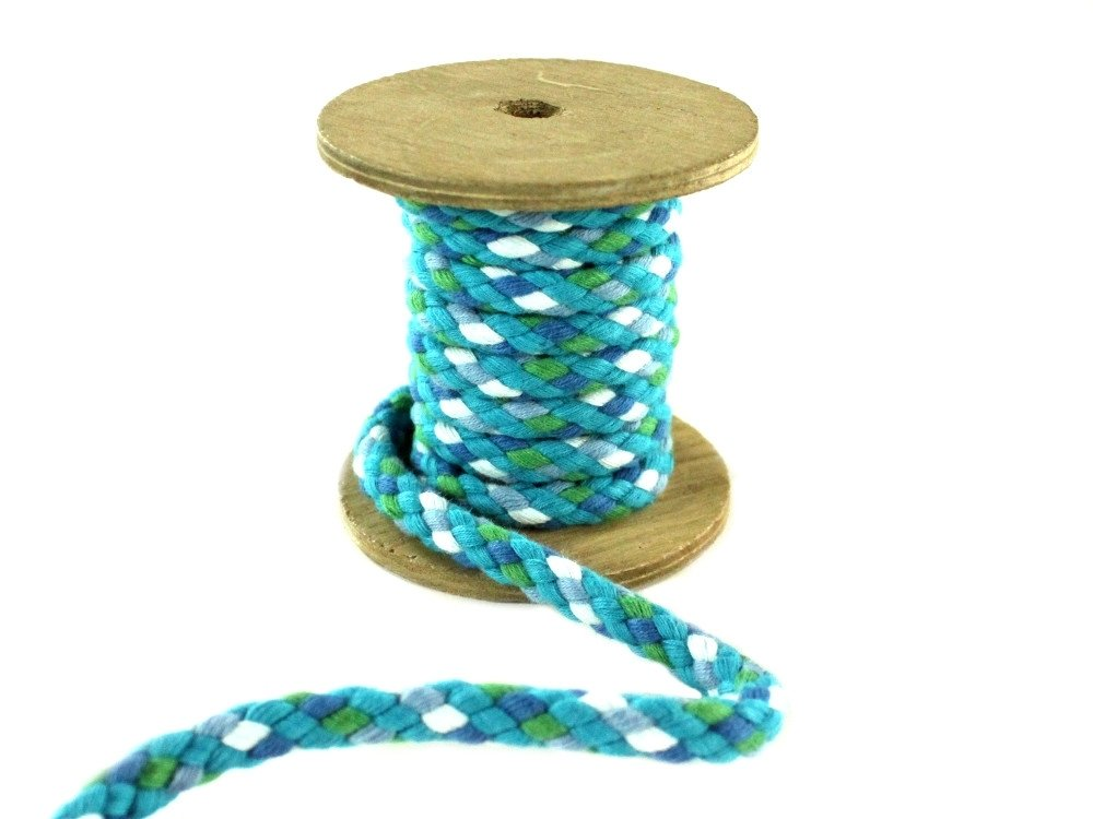 Cotton drawstring braided 8 mm, turquoise multicolor