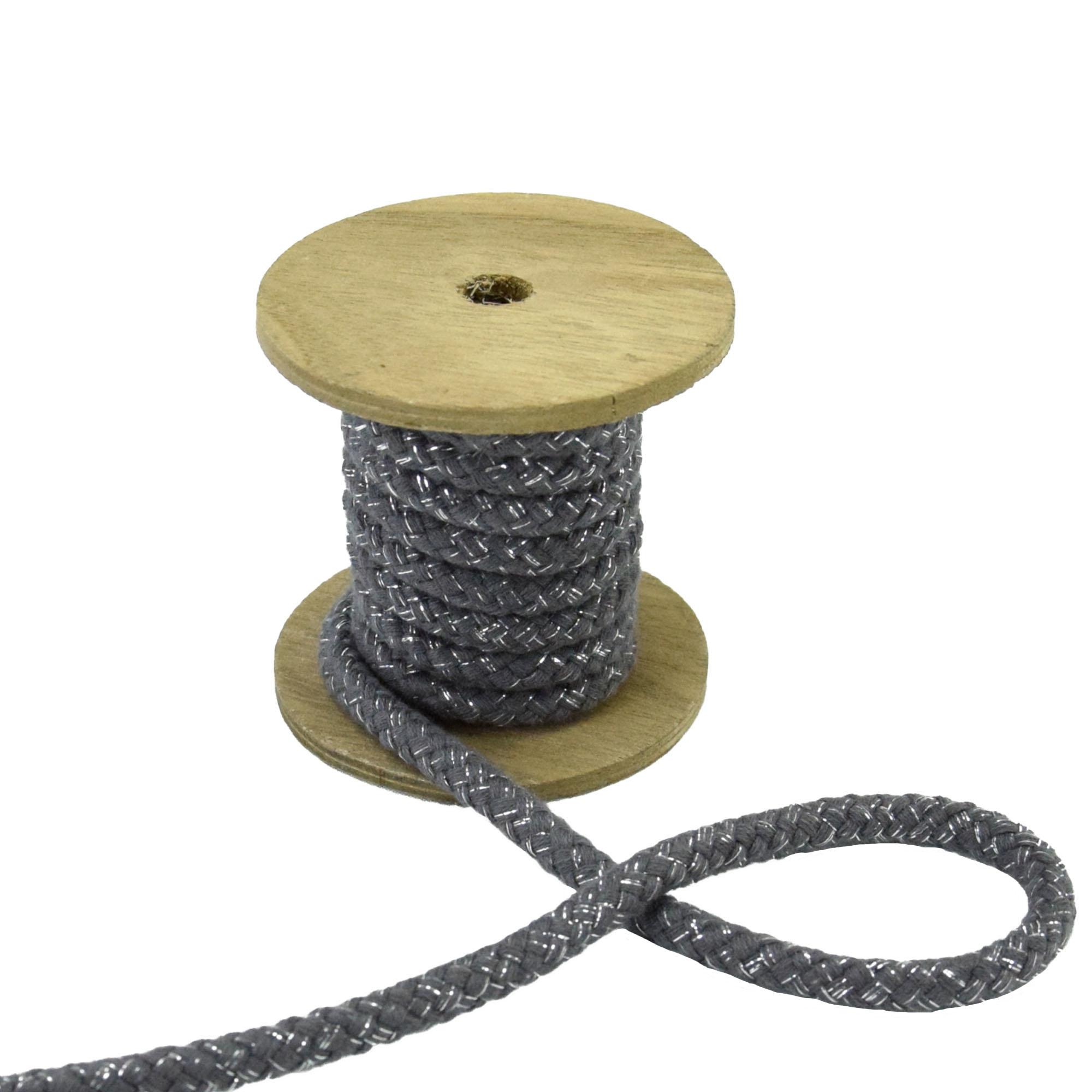 Cotton cord lurex 10 mm, grey