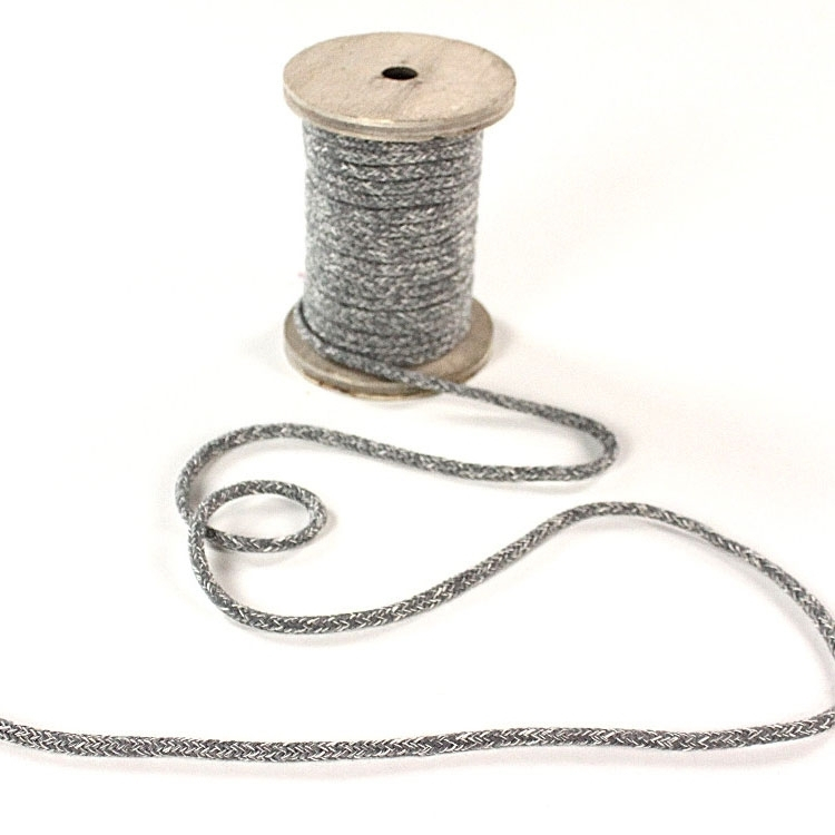 Cotton drawstring melange, gris, 5mm