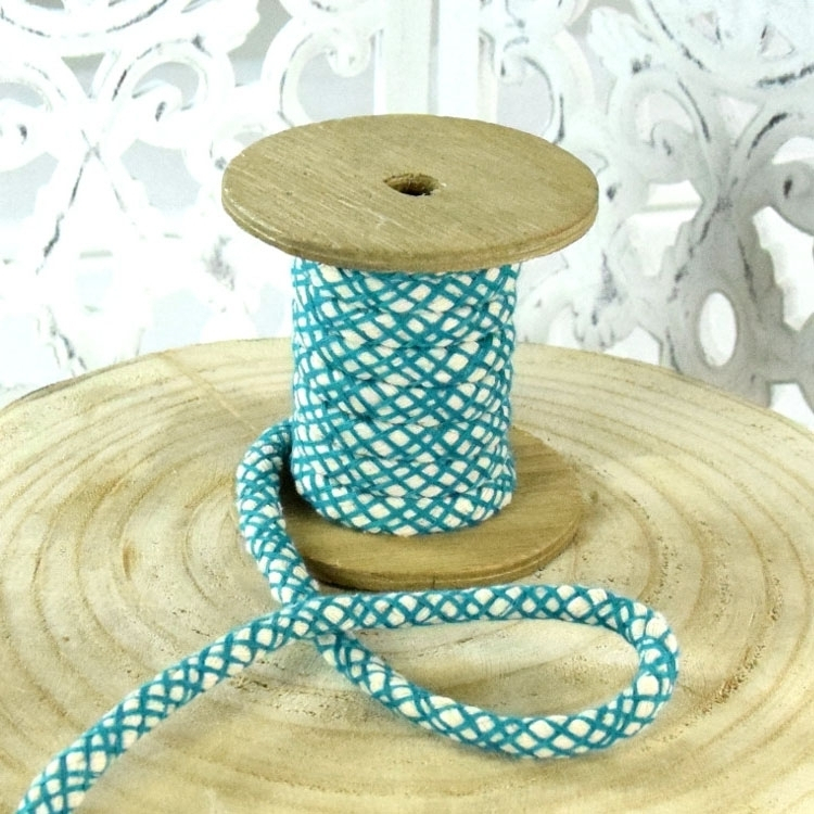 Cotton cord mesh look, teal