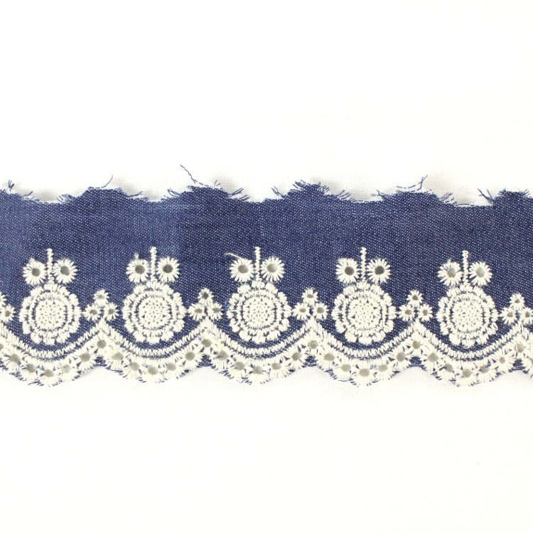 Embroidered jeans ribbon, blue