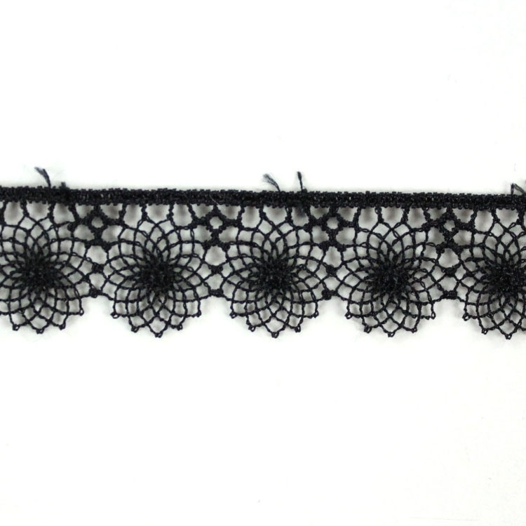 Embroidered Tulle tape, black 17 mm