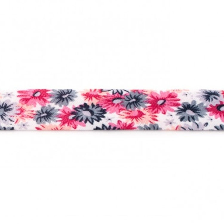 Flower bias tape, 3m pcs., anthracite-pink