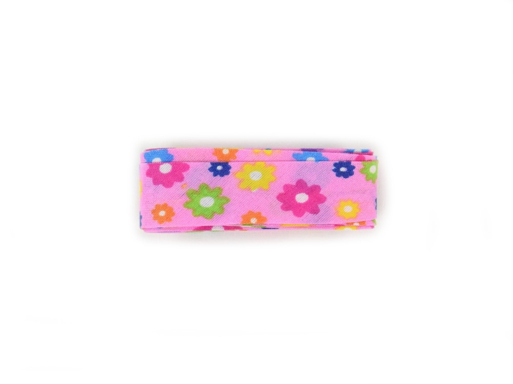 Flower bias tape, 3 m pcs., pink