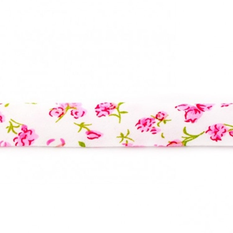 Flower bias tape, 3m pcs., blanc-rose