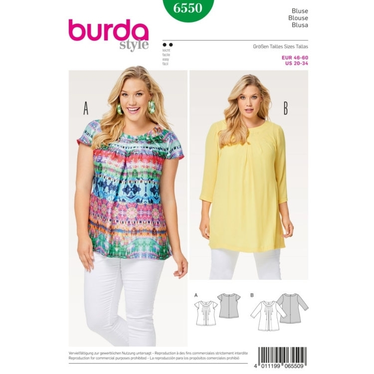Blouse , Neckline Band , Pleats, Burda 6550