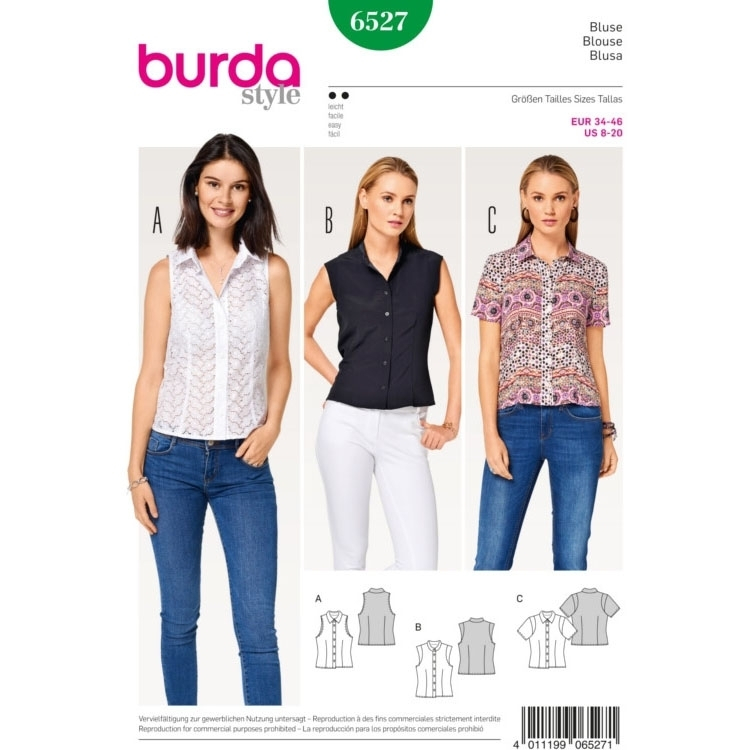 Blouse , Shirt Collar , Stand Collar , Sleeve Bands, Burda 6527