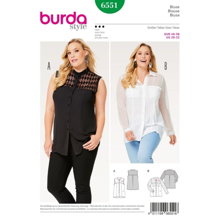 Blouse , Shirt Blouse , Stand Collar , Collar with Collarband, Burda 6551