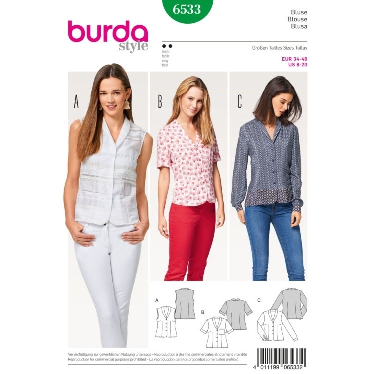 Blouse , Shawl Collar, Burda 6533
