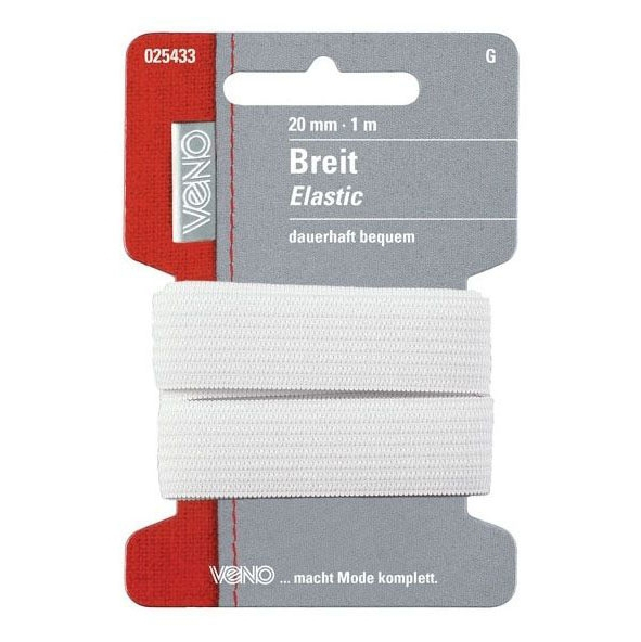 Brede elastiek, 1 m, 20 mm, wit