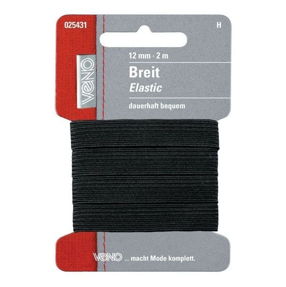Brede elastiek, 2 m, 12 mm, zwart