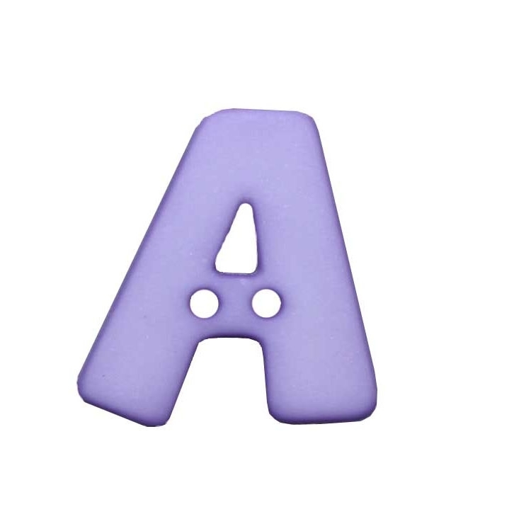 Letter shaped button, A, lilac
