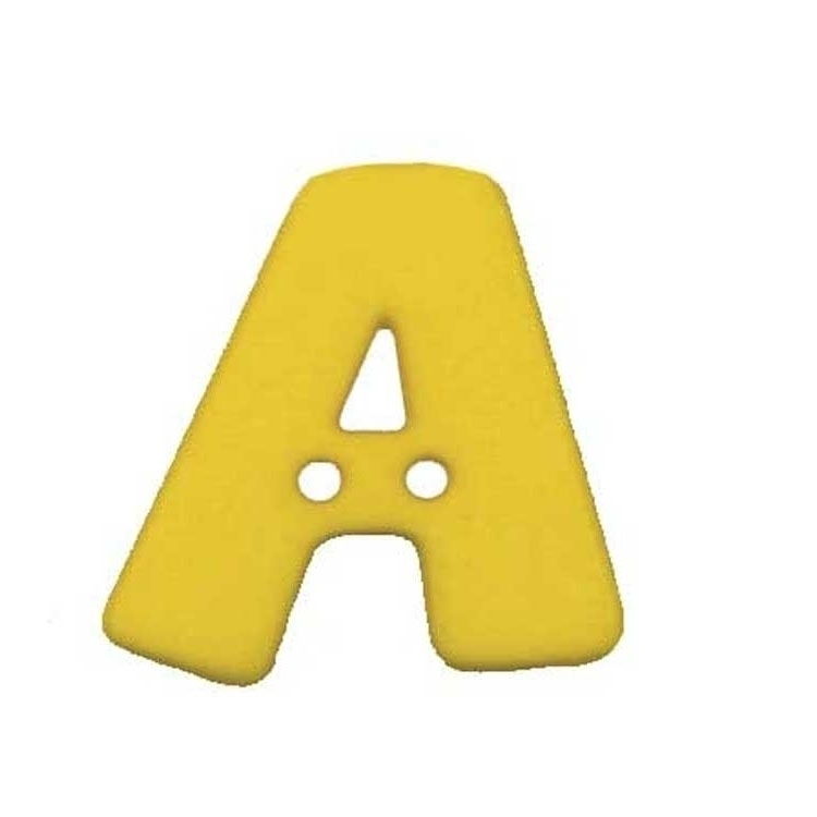 Letter shaped button, A, yellow