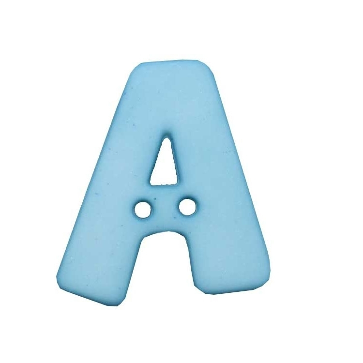 Letter shaped button, A, light blue