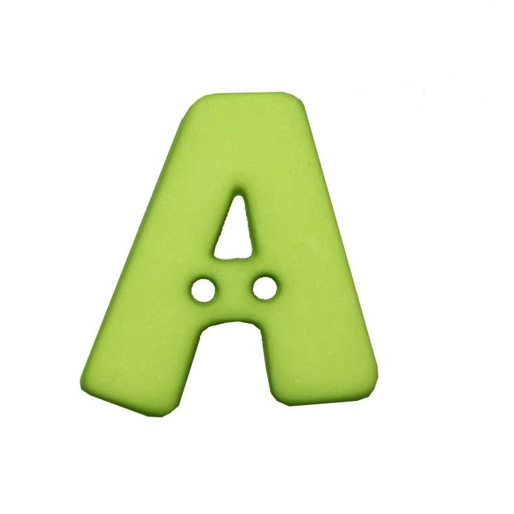 Letter shaped button, A, light green