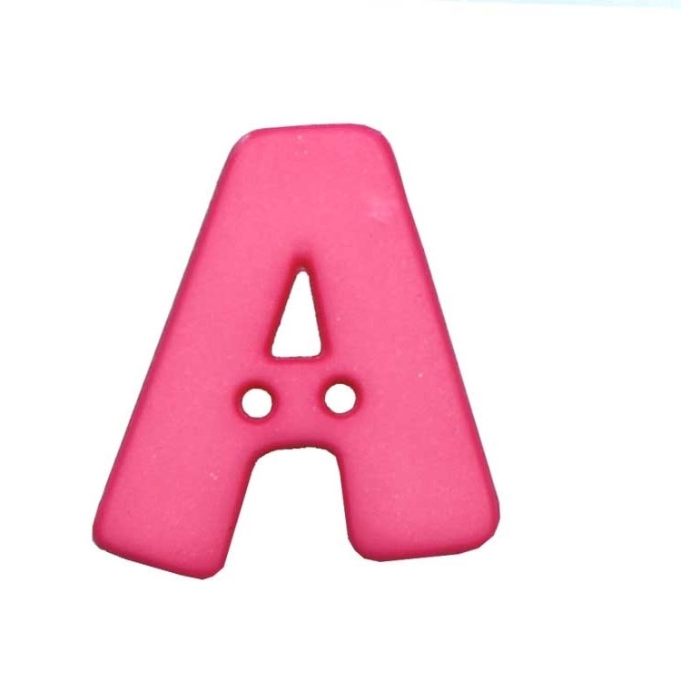 Bouton Lettre, A, pink