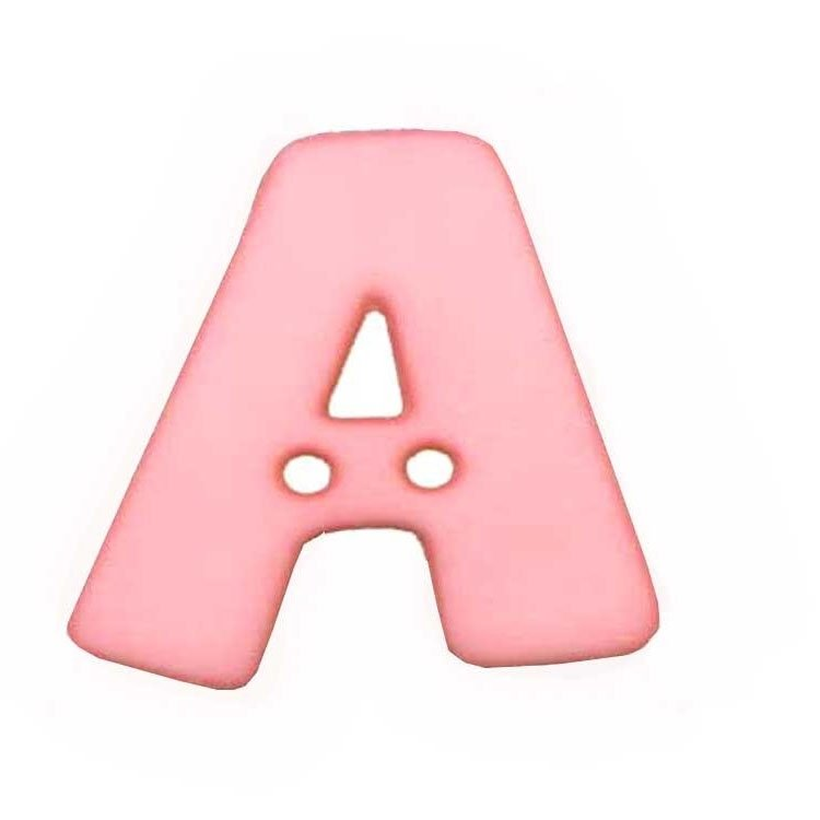 Letter shaped button, A, pink 2