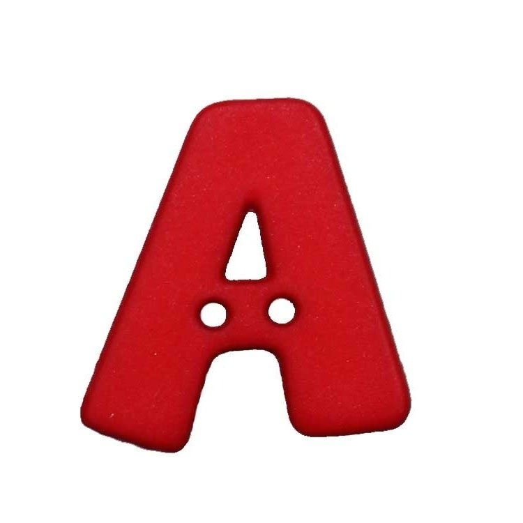 Letter shaped button, A, red