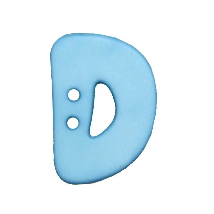 Letter shaped button, D, light blue